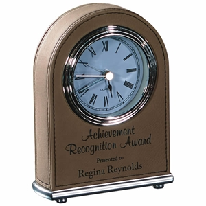 "5 1/2"" Light Brown Laserable Leatherette Arch Desk Clock"