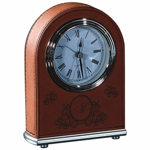 "5 1/2"" Rawhide Laserable Leatherette Arch Desk Clock"