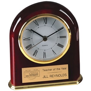 "5"" Piano Finish Arched Clock w/ Brass Trim"