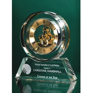 "6.5""H Crystal Clock w/ Gold Accents"