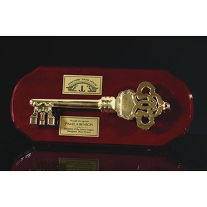 "7""x16"" Rosewood Plaque with Die Cast Metal Key Mount"