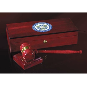 "Gavel Set,  Rosewood Piano Finish; Box is 5"" x 12"" x 3""; Gavel is 10.25""; Sound Block is 3.5""x3.5"""
