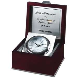 "Rosewood Piano Finish Box Clock Silver bezel with brushed silver aluminum accents. Silver engraving plate (inside lid) included. 6.5""x6.5"""