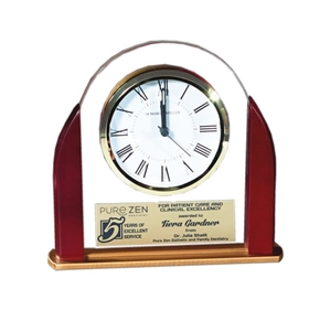 "Rosewood and Glass Arch Table Alarm Clock with Brass Accents 6.25"" tall v 6.75"" wide"